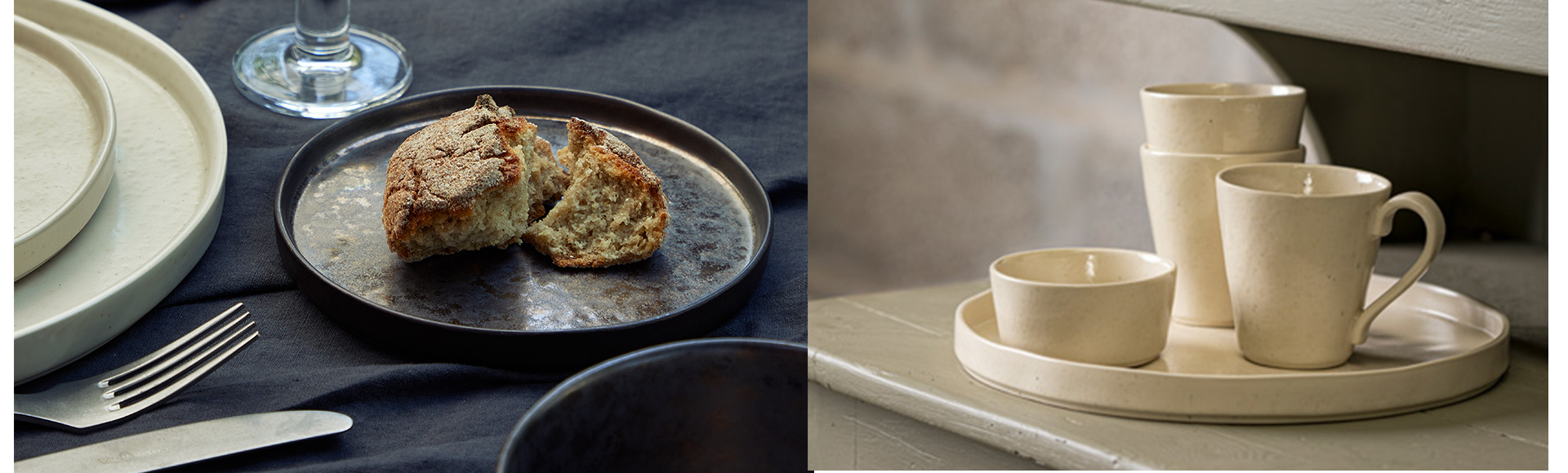 ポルトガルのテーブルウェアブランドCOSTANOVAのラゴアシリーズ。本物のメタルや石のような質感が楽しい、フラットデザインの食器です。