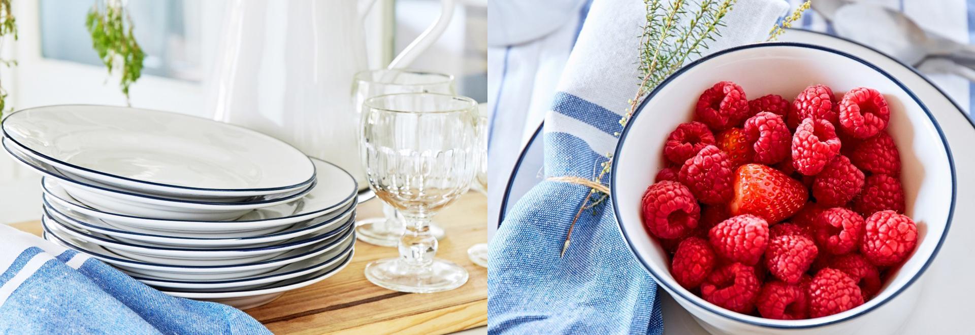 ポルトガルのBejaの街にインスピレーションされたベジャシリーズの食器。<br>白と青のシンプルな色の爽やかな食器シリーズ