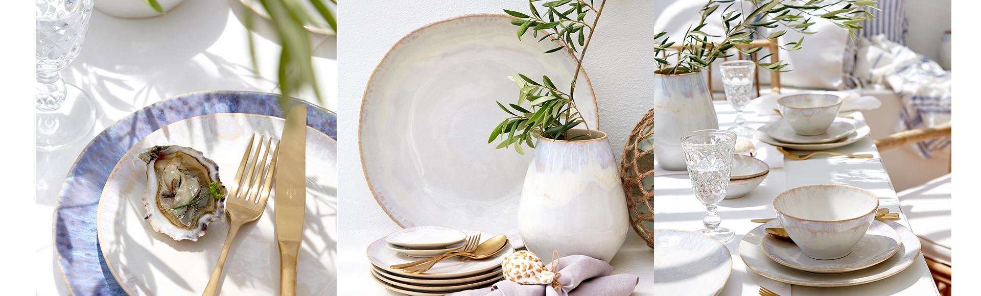 COSTA NOVA(コスタ・ノバ)ブランドのブリサシリーズ。ポルトガルのアルガルヴェ地方の風景や風にインスピレーションを受けた白と青のカラーリングが美しい食器。