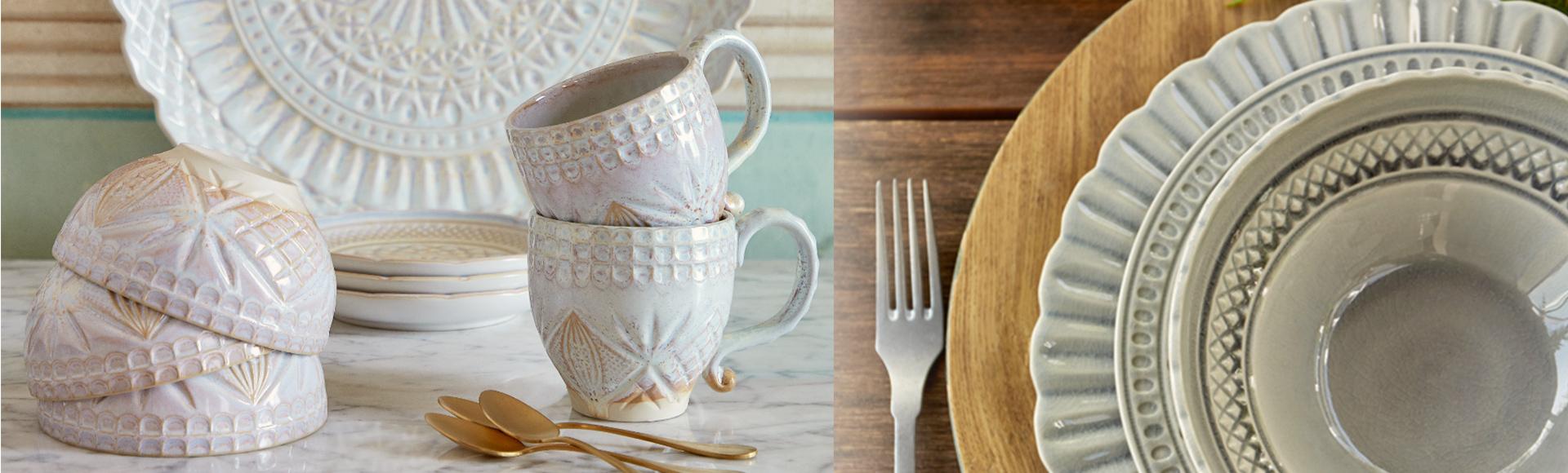 ポルトガルのテーブルウェアブランドCOSTANOVAのクリスタルシリーズ。カットガラスのような個性的なデザインと、釉薬による幻想的な色味が魅力的な食器です。