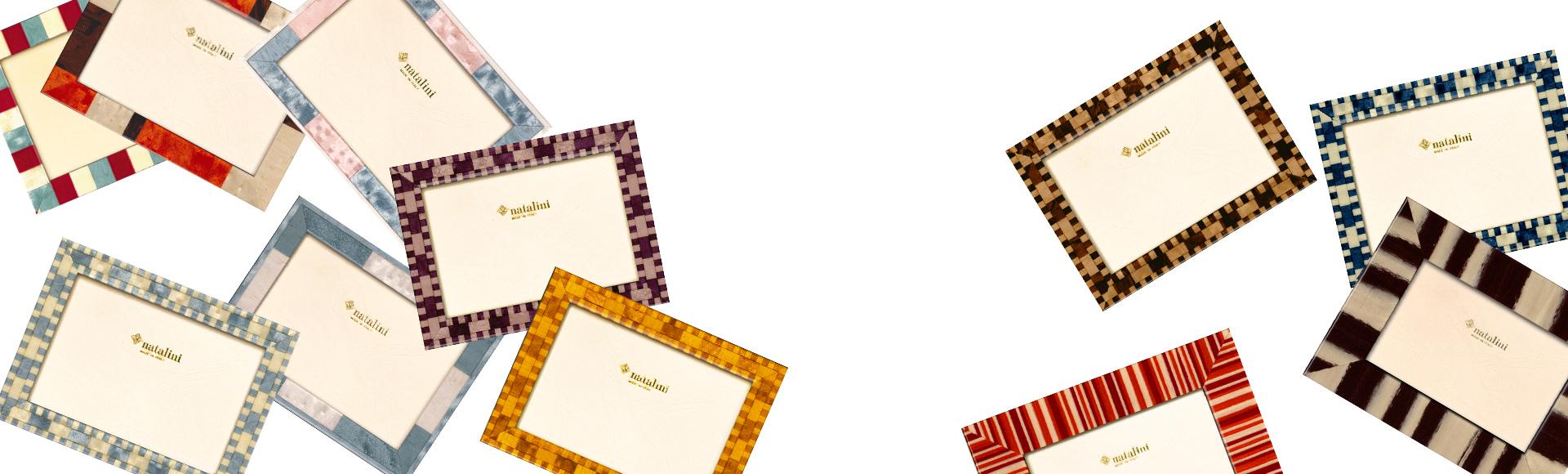 """美しい色と斬新なデザインが魅力のNataliniの象嵌細工のフォトフレーム。イタリアの家族経営の会社でデザインにこだわり高い技術で作られています"""""""""""