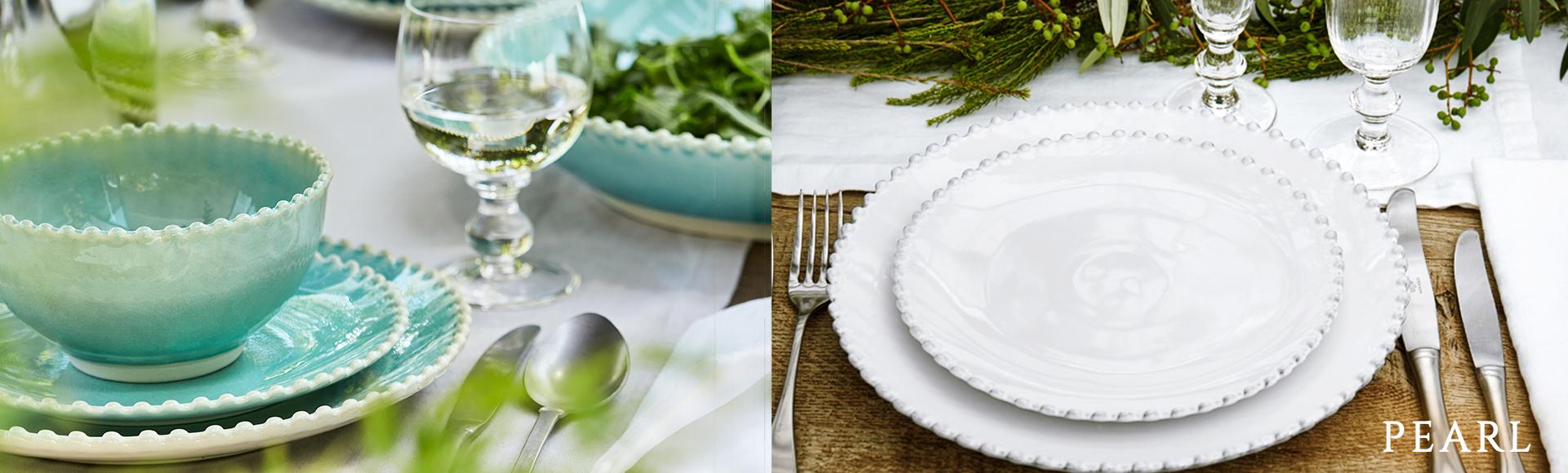 ポルトガルのコスタ・ノバブランドの、パールのような丸い飾りがついたPAERLシリーズ。エレガントでカジュアル、白とアクア(青)の2色展開で毎日の食卓で活躍します。