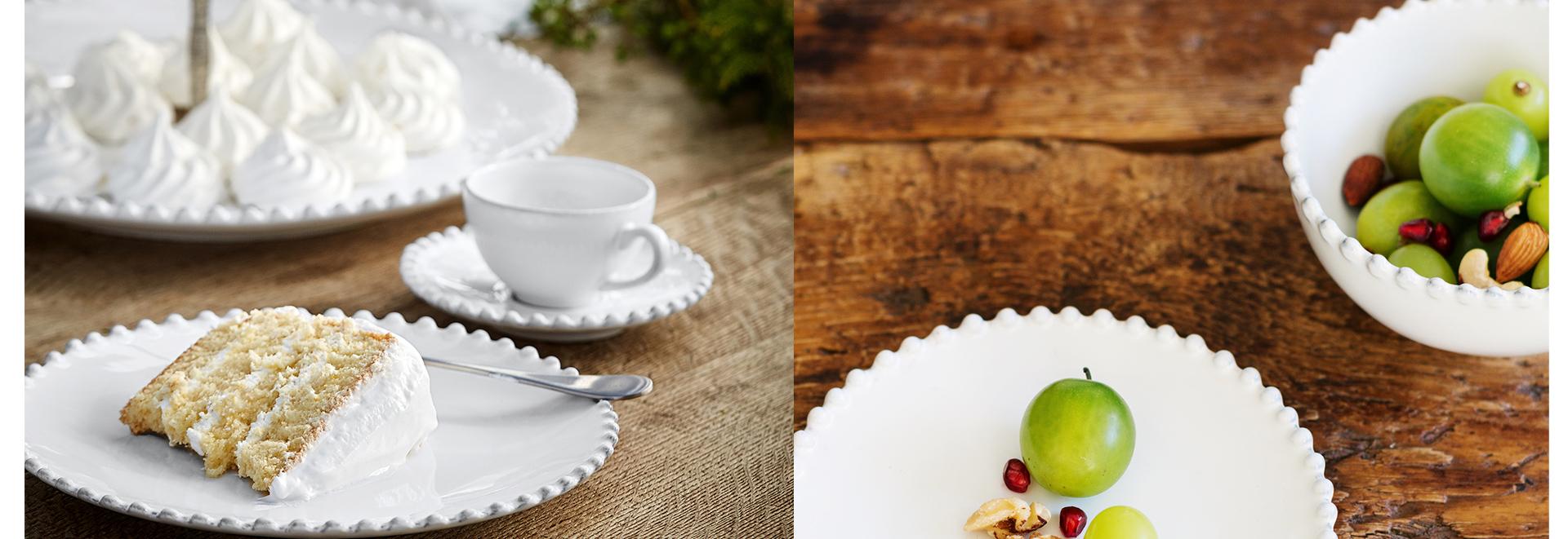 18・19世紀のヨーロッパの豊かな陶器のデザインにインスパイアされたパールシリーズ。パールのような粒がお皿のエッジを飾ります。